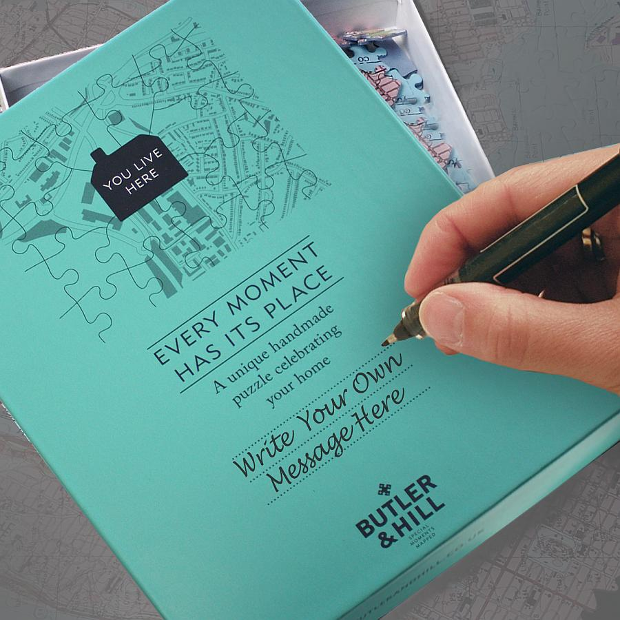 Postcode jigsaw personalise the box with your own text